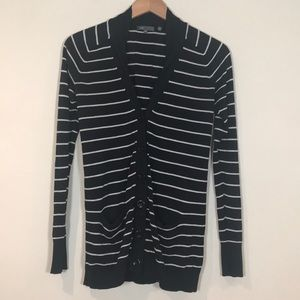 Vince navy and white striped cardigan